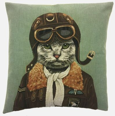Aviator Cat Throw Pillow Cover