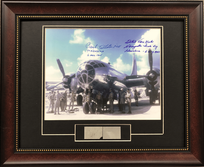 B-29 Photo Signed by Tibbits & Van Kirk with Skin Relic