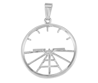 Silver Attitude Indicator Pendant with Necklace