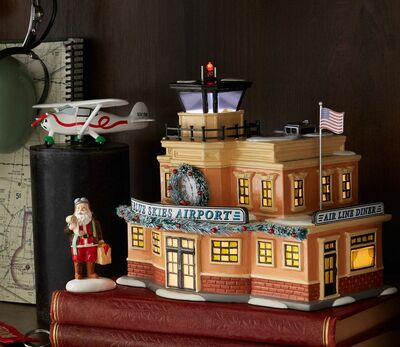 Blue Skies Airport Aviation Christmas Village 3-Piece Set