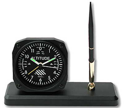 Altimeter Desk Clock and Pen Set