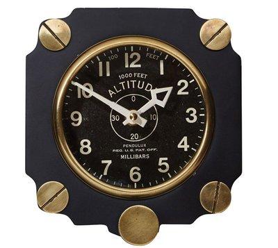 Metal Altimeter Wall Clock | Black