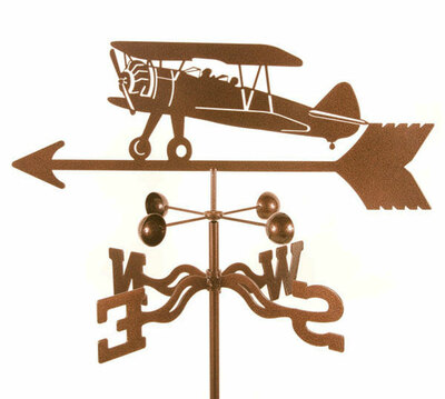 Steel Stearman Style  Airplane Weather Vane