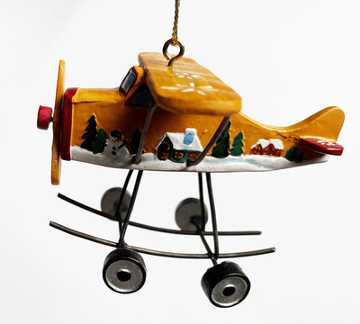 Gold Airplane Ornament