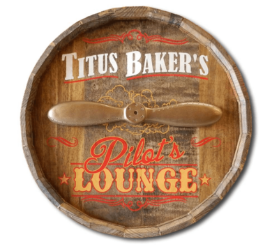 Quarter Oak Barrel Personalized Pilot's Sign