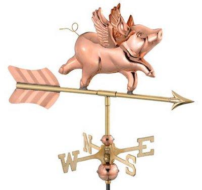 Flying Pig Weathervane, Garden Size