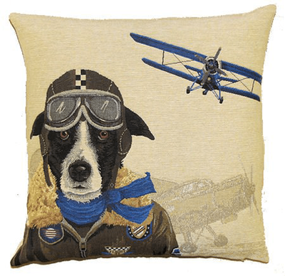 Pilot Dog Throw Pillow Cover | Blue