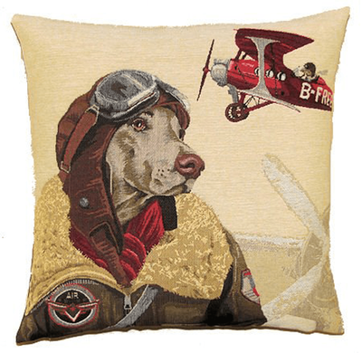 Pilot Dog Throw Pillow Cover | Red