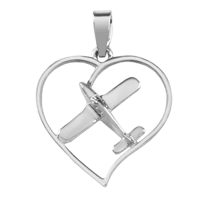 Silver Piper Style Heart Pendant with Necklace
