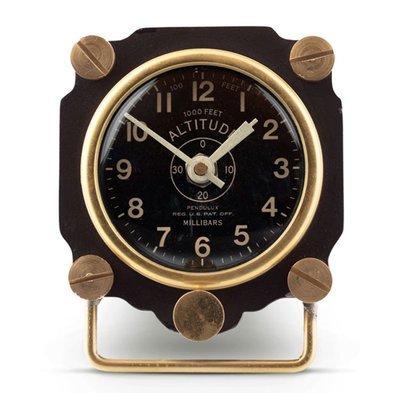 Metal Altimeter Desk Clock  | Black/Brass