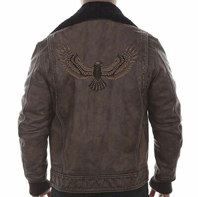 Vintage Leather Bomber Jacket with Eagle Design