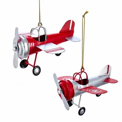 Tin Airplane Ornaments | Set of Two