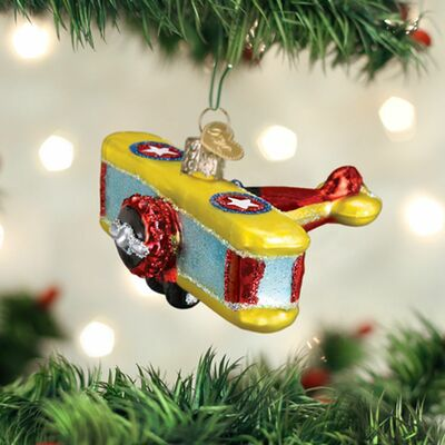 Glass Biplane Ornament