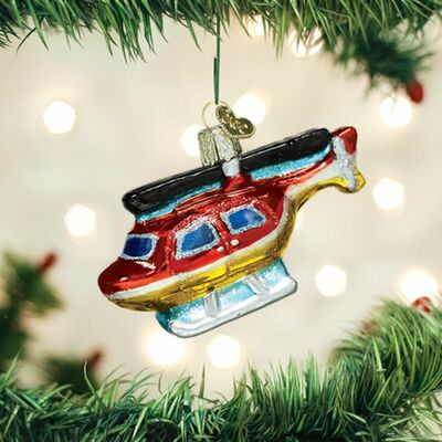 Glass Helicopter Ornament