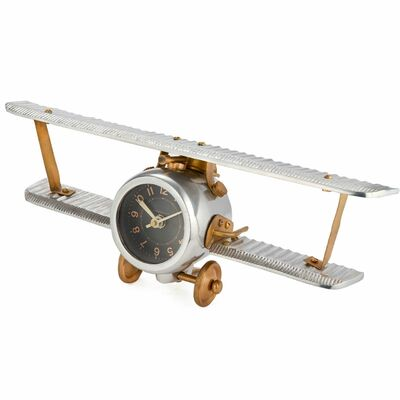 Metal Biplane Wall or Desk Clock