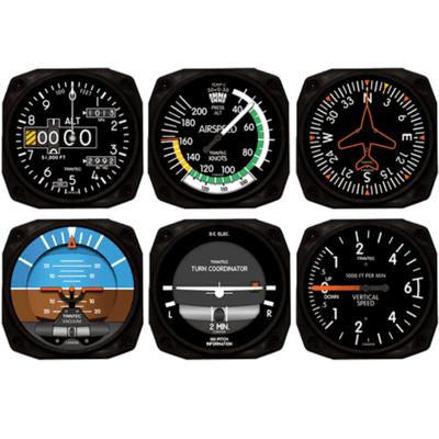 Modern Airplane Instrument Coaster - Set of 6