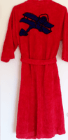 Ladies Plush Robe with Biplane Design
