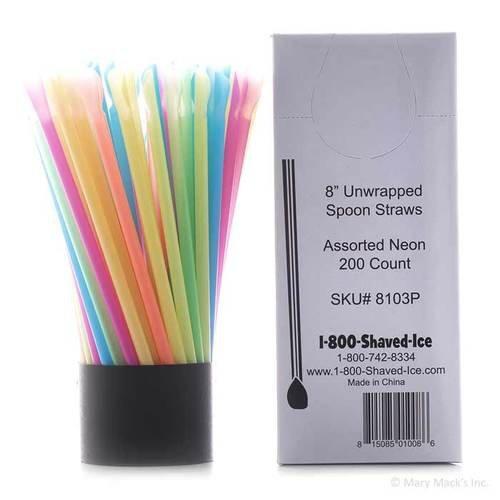 Snow Cone Spoon Straws - Case of 10,000