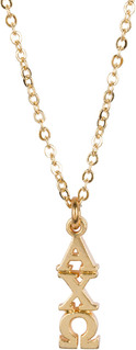 Alpha Chi Omega 22 k Yellow Gold Plated Lavaliere Necklace - ON SALE!