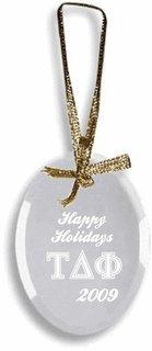 Tau Delta Phi Glass Ornament