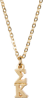 Sigma Kappa 22 k Yellow Gold Plated Lavaliere Necklace - ON SALE!