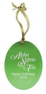 Alpha Sigma Tau Holiday Color Mascot Glass Christmas Ornament
