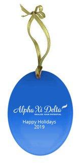 Alpha Xi Delta Holiday Color Mascot Glass Christmas Ornament