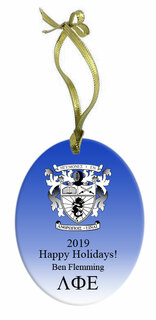 Lambda Phi Epsilon Holiday Color Crest - Shield Glass Ornament