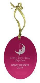 Lambda Theta Alpha Holiday Color Mascot Glass Christmas Ornament