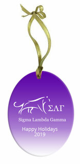Sigma Lambda Gamma Holiday Color Mascot Glass Christmas Ornament