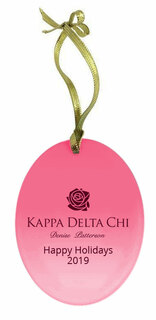 Kappa Delta Chi Holiday Color Mascot Glass Christmas Ornament