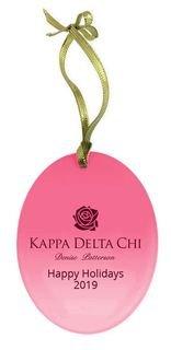 Kappa Delta Chi Holiday Color Mascot Glass Christmas Ornament