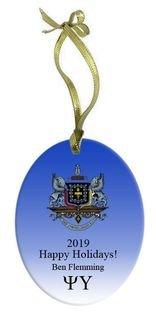 Psi Upsilon Holiday Color Crest - Shield Glass Ornament