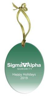 Sigma Alpha Holiday Color Mascot Glass Christmas Ornament