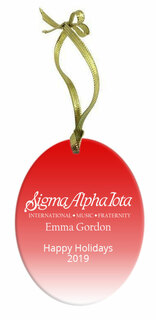 Sigma Alpha Iota Holiday Color Mascot Glass Christmas Ornament