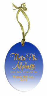 Theta Phi Alpha Holiday Color Mascot Glass Christmas Ornament