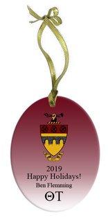 Theta Tau Holiday Color Crest - Shield Glass Ornament