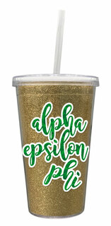 Alpha Epsilon Phi 16 OZ Sorority Newport Glitter Tumbler