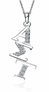 Alpha Sigma Tau Sterling Silver Diagonal Lavaliere set with Lab-Created Diamonds
