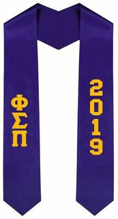 Phi Sigma Pi Greek Lettered Graduation Sash Stole With Year - Best Value