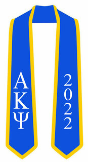 DISCOUNT-Alpha Kappa Psi Greek 2 Tone Lettered Graduation Sash Stole w/ Year