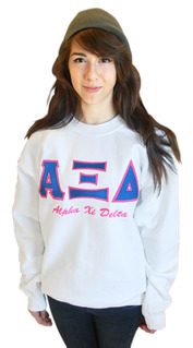 Fraternity & Sorority Twill Greek Letter Crewneck Sweatshirt with Embroidery