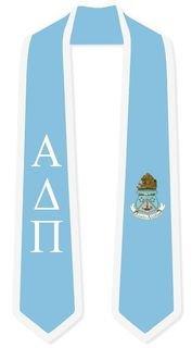 DISCOUNT-Alpha Delta Pi Greek 2 Tone Lettered Graduation Sash Stole