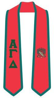 DISCOUNT-Alpha Gamma Delta Greek 2 Tone Lettered Graduation Sash Stole