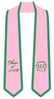 Alpha Kappa Alpha Embroidered Wreath Graduation Sash Stole