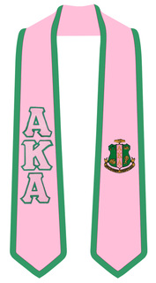 Alpha Kappa Alpha Greek 2 Tone Lettered Graduation Sash Stole