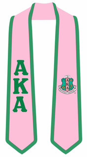 DISCOUNT-Alpha Kappa Alpha Greek 2 Tone Lettered Graduation Sash Stole