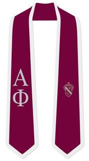 DISCOUNT-Alpha Phi Greek 2 Tone Lettered Graduation Sash Stole