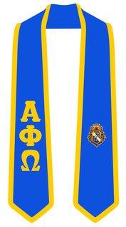 DISCOUNT-Alpha Phi Omega Greek 2 Tone Lettered Graduation Sash Stole