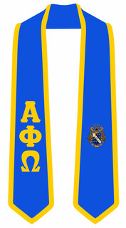 DISCOUNT-Alpha Phi Omega Greek 2 Tone Lettered Graduation Sash Stole